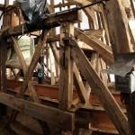 La charpente du clocher pendant sa restauration